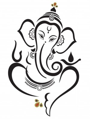 Fototapete Vector illustration of Beautiful God Ganesha. Lambodar