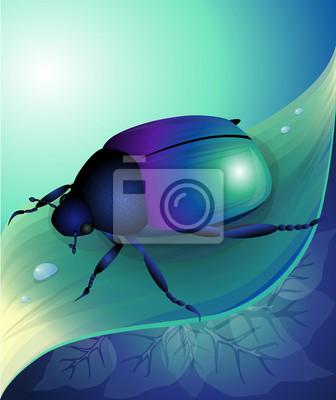 Vector illustration of blue beetle