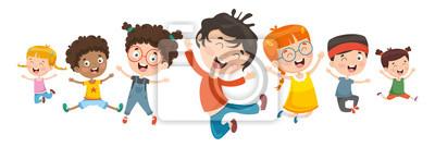 Fototapete Vector Illustration Of Children Playing