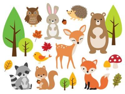 Fototapete Vector illustration of cute woodland forest animals including deer, rabbit, hedgehog, bear, fox, raccoon, bird, owl, and squirrel.