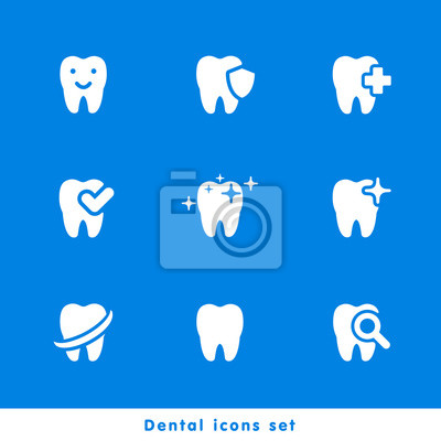 Vector illustration of dental icons set in flat style