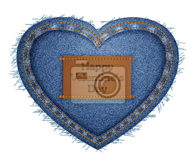 Vector illustration of jeans heart blue