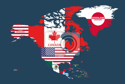 Fototapete: Vector illustration of north america map (include northern  america,
