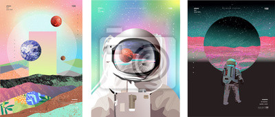 Fototapete Vector illustration of space, cosmonaut and galaxy for poster, banner or background. Abstract drawings of the future, science fiction and astronomy