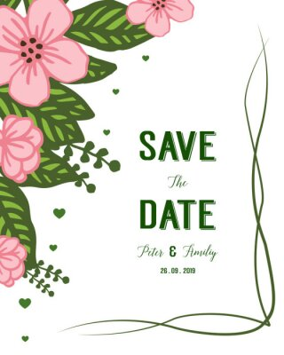 Vector illustration pink flower frame isolated white background with wedding invitation design cards