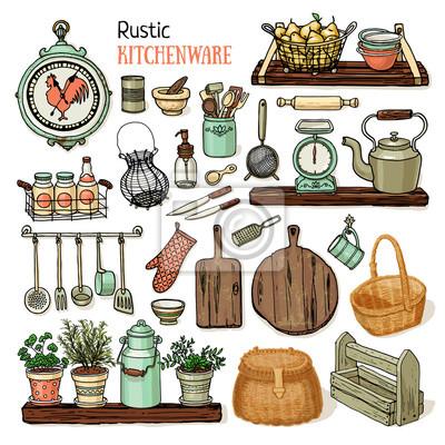 Fototapete: Vector illustration rustikale küche gesetzt. retro-stil geschirr