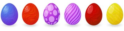 Vector illustration set of colorful easter eggs in different colors in cartoon style with patterns. Harvest for designers, realistic colored eggs with shadow, bright easter eggs with texture on