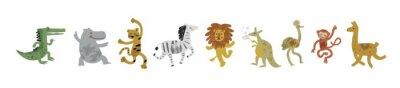 Fototapete Vector illustration set of cute dancing animals in cartoon style