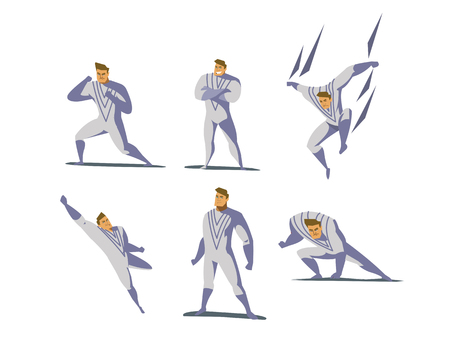 Vector illustration set of Superhero actions, different poses, business power icons set, cartoon colored style, white costume.