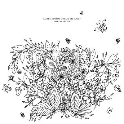 Vector illustration von floral frame zentangle, doodling. zenart ...