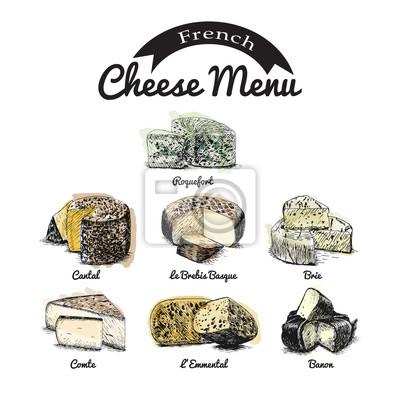 Vector illustriert set # 2 von französisch käse-menü. illustrative ...