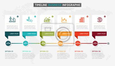 Vector infografics timeline design-vorlage mit 3d-papier-label ...