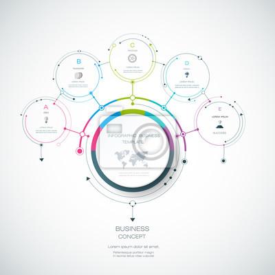 Vector infografische 3d-kreis-label-design-vorlage mit pfeilen ...