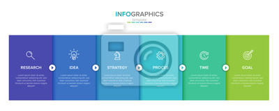 Fototapete Vector infographic label template with icons. 6 options or steps. Infographics for business concept. Can be used for info graphics, flow charts, presentations, web sites, banners, printed materials.