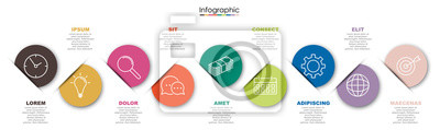Fototapete Vector infographic template with nine steps or options. Illustration presentation with line elements icons.  Business concept design can be used for web, brochure, diagram