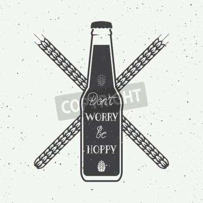 Fototapete Vector Jahrgang Bier Logo mit Hand Schriftzug Spaß Motivation Zitat