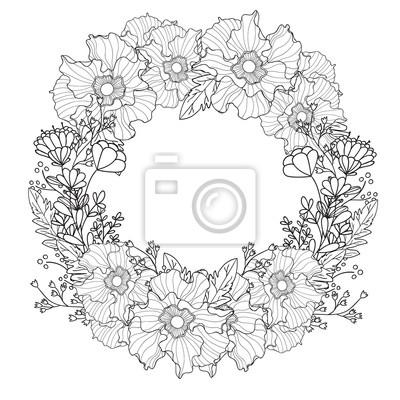 Fototapete Vector Jahrgang Runder Rahmen Mit Blumen Blumenkranz Schwarz