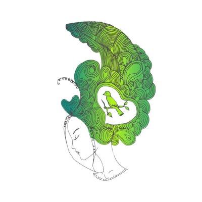 Vector Junge Hübsche Mädchen Mit Grünen Doodle Haare Frau Gesicht