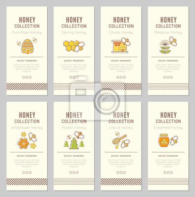 Vector-karte vorlage mit natürlichen honig-tags (arten von honig ...