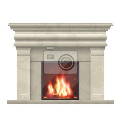 Fototapete Vector Klassischen Kamin Für Wohnzimmer Interieur