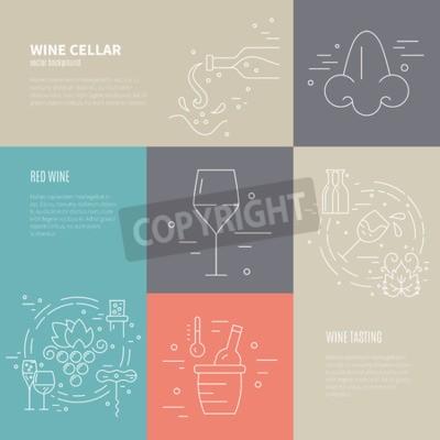Fototapete Vector Konzept der Weinherstellung Prozess mit verschiedenen Weinindustrie Symbole einschließlich Glas, Weintraube, Flasche, corckscrew mit Beispieltext. Perfekter Hintergrund für weinbezogenes Design