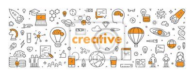 Fototapete Vector line web banner for creative