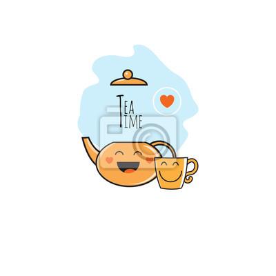 Vector Logo With Cute Cartoon Cup Of Tea Teapot Steam An
