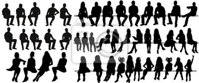 Fototapete Vector, lokalisierte Schattenbild von sitzenden Leuten, von großer Sammlung, von sitzendem Mann und von Mädchen