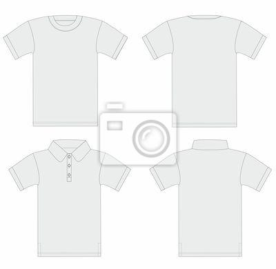Vector. männer-t-shirt und polo-shirt-vorlage. fototapete ...