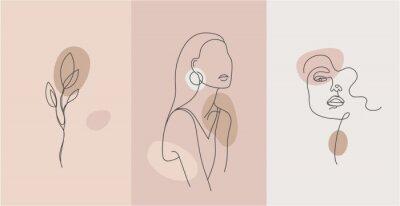 Fototapete Vector minimalist style portrait. Line flower, woman portrait. Hand drawn abstract feminine print. Use for social net stories, beauty logos, poster illustration, card, t-shirt print