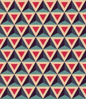 Fototapete Vector modern nahtlose bunte geometrische Muster, 3D-Dreiecke, Farbe rot blau, abstrakte geometrische Hintergrund, trendige mehrfarbigen Druck, retro Textur, Hipster-Mode-Design