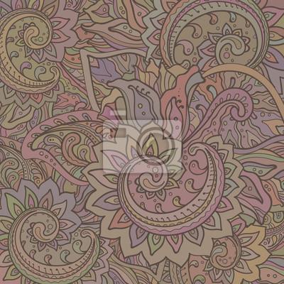 Vector Muster der indischen Blumenverzierung mit Weinlesefarbe