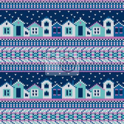 Vector nahtlose gestrickt Muster mit Häusern und Schneeflocken in ethnischen Stil