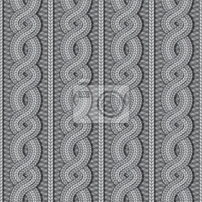 Vector nahtlose grau Weihnachten Pullover Kabel gestrickt Muster in ethnischen Stil