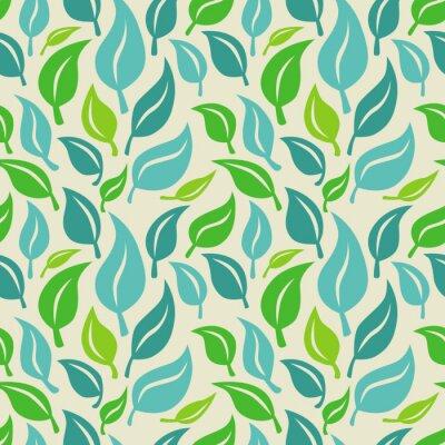 Fototapete Vector nahtlose Hintergrund mit grünen und blauen Blättern