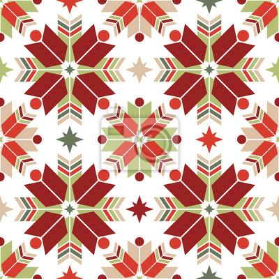Vector nahtlose Muster der geometrischen Schneeflocken. Nordischen Muster.