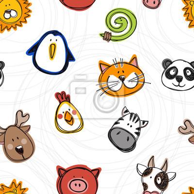 Vector nahtlose Muster der Hand gezeichnet lustige Doodle Tiere, Skizze Stil.