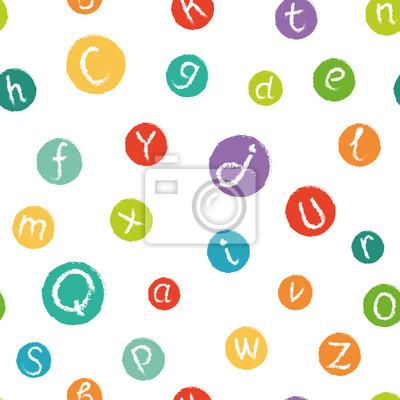 Vector nahtlose Muster - lustig Englisch Alphabet. Hand gezeichnete Kreide wie Buchstaben in bunten Kreisen.