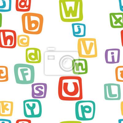 Vector nahtlose Muster - lustig Englisch Alphabet in bunten Quadraten.
