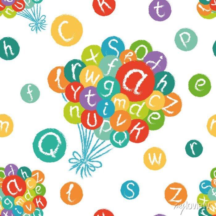 Fototapete Vector nahtlose Muster - lustige englische Alphabet. Hand gezeichnet Kreide wie Buchstaben in bunten Kreisen.