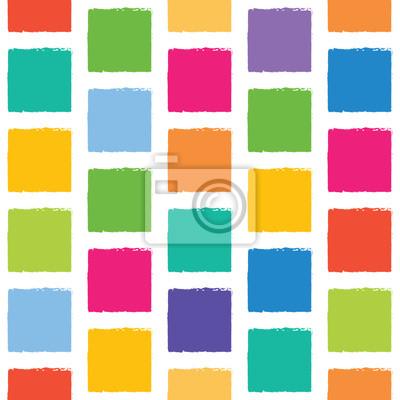 Vector nahtlose Muster mit bunten Quadraten mit gezackten Kanten.