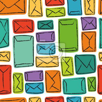 Vector nahtlose Muster mit bunten Umschlägen. Viele Briefe in Regenbogen farbige Umschläge.