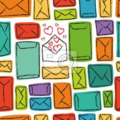 Vector nahtlose Muster mit bunten Umschlägen. Viele Briefe und eins mit Liebe.