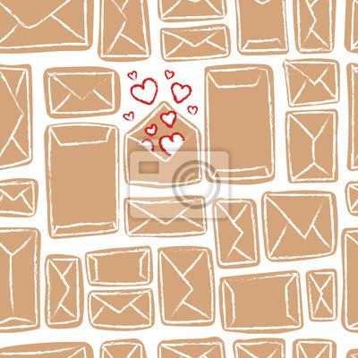 Vector nahtlose Muster mit Handwerk Umschläge. Viele beige Buchstaben und eins mit Liebe.