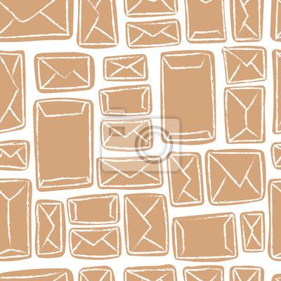 Vector nahtlose Muster mit Handwerk Umschläge. Viele Briefe in beige Umschläge.