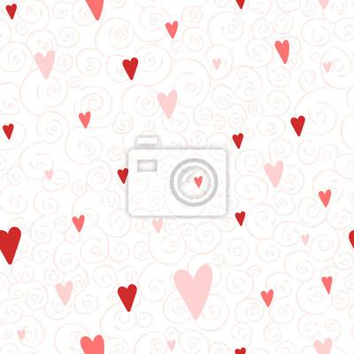Vector nahtlose Muster mit Herzen und wirbelt. Gut für Valentinstagkarten, Hochzeitseinladungen, etc.