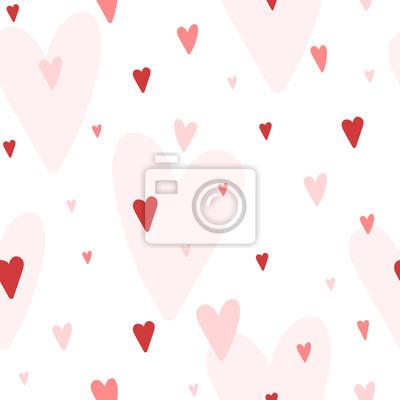 Vector nahtlose Muster mit Herzen verschiedene Schattierungen von rot, gut für Valentinstag-Karten, Hochzeitseinladungen, etc.