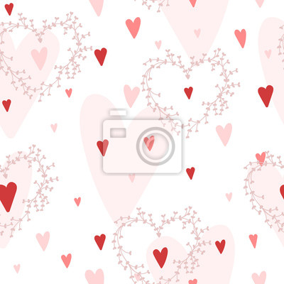 Vector nahtlose Muster mit Herzen verschiedene Schattierungen von roten und floralen Kränze. Gut für Valentinstagkarten, Hochzeitseinladungen, etc.