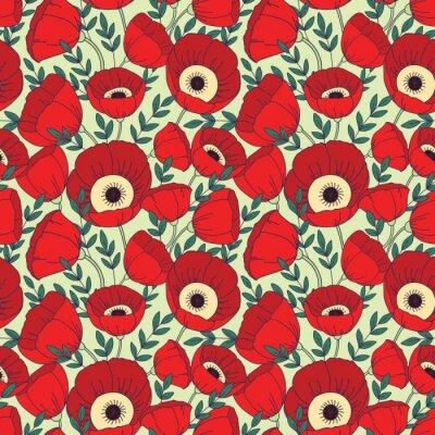 Fototapete Vector nahtlose Muster mit Mohnblumen. Blumenhintergrund
