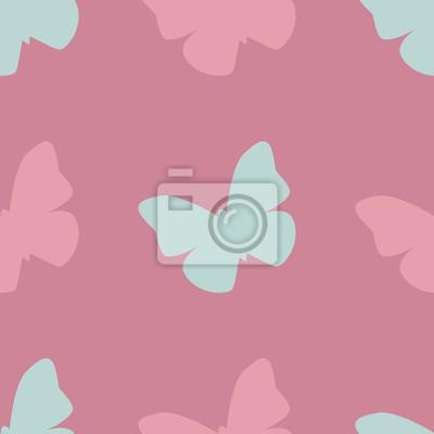 Vector Nahtlose Muster Mit Rosa Und Blauen Schmetterlingen Auf